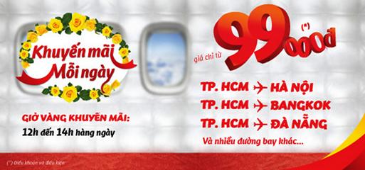 Khuyến mãi vé máy bay giá rẻ của Vietjet hàng ngày